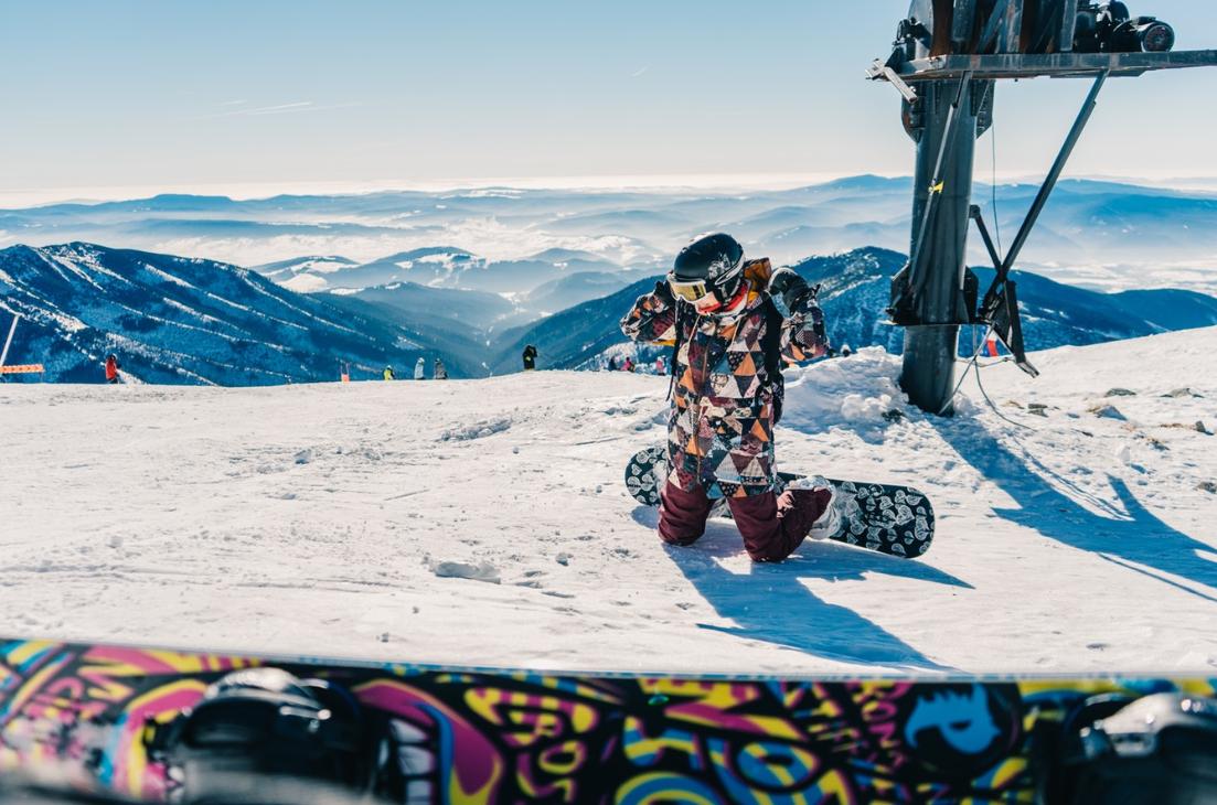 pstrokata kurtka snowboardowa